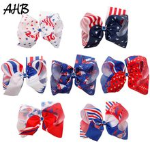 AHB 4th of July 8 Inch Hair Bows for Girls Ribbon Bow Clips with Rhinestones Independence Day Party Kids Accessories
