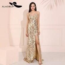Alagirls Golden Sequins Mermaid Prom Dresses 2019 V-Neck Vestido de fiesta Illusion Spaghetti Formal Party Dress Robes bal