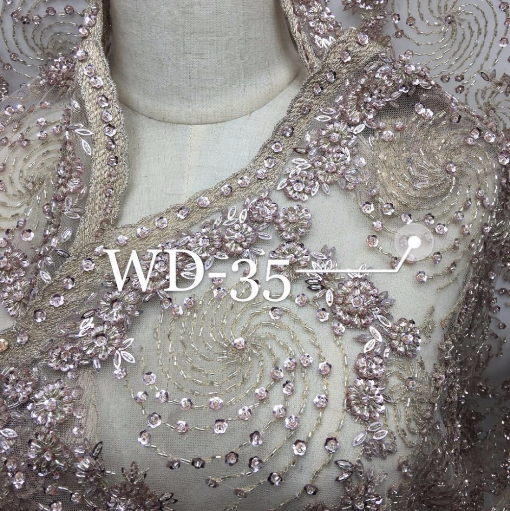 5yards /lot Heavy handmade beaded African French Lace Fabric on Tulle embroidery bridal wedding dress Fabrics