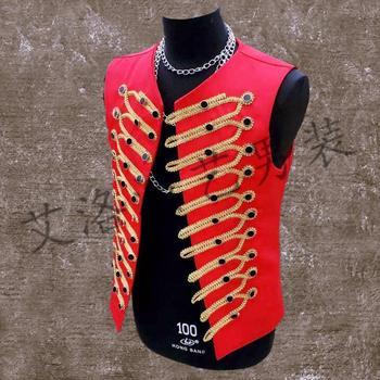 Men New Costume Personality Vests Male Dj Jacket Men's Clothing Vest Outerwear Costumes Men Punk Rock Vest Fashion Menswear