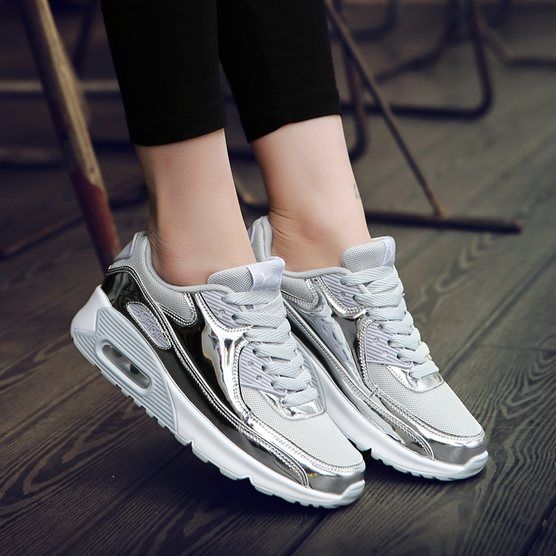 Bling Bling Women Platform Flats Shoes Patent Leather Sneakers Lace Up  Brand Female Mesh Footwear Shoes for women Sports-in Running Shoes from  Sports ... 46b2faa6a