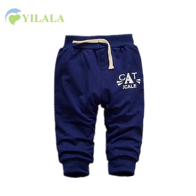 Casual Pantalones de Algodón Sólidos Pantalones de Los Cabritos Del Bebé Impresión de la Letra Del Bebé Harén Pantalones de Cintura Elástica Niños Niños Ropa de Bebé Ropa