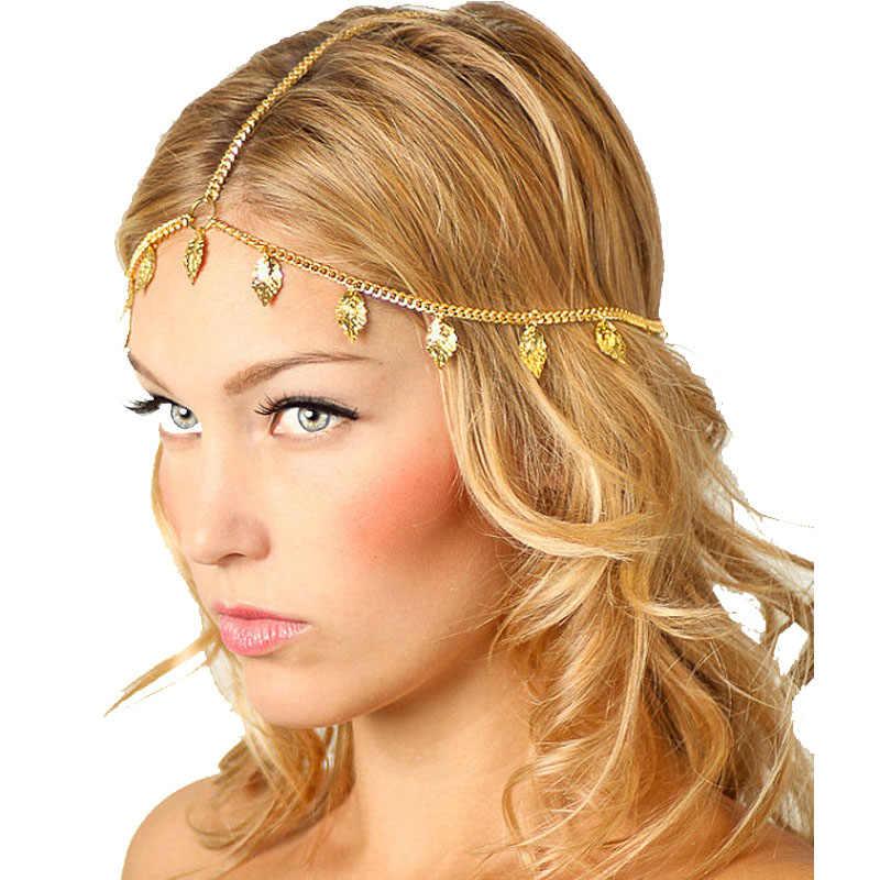 SUSENSTONE Kadınlar Yaprak Püsküller Kafa Zinciri Kafa Bandı Başlığı Hairband Takı Hediye