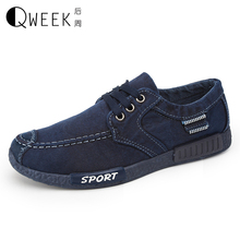 QWEEK Men Casual Low font b Shoes b font British Style Canvas Lace Up font b