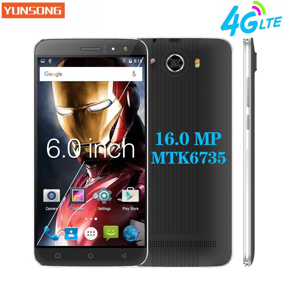 Yunsong nueva s10 plus 6.0 pulgadas qhd pantalla del teléfono móvil 16.0MP MTK67