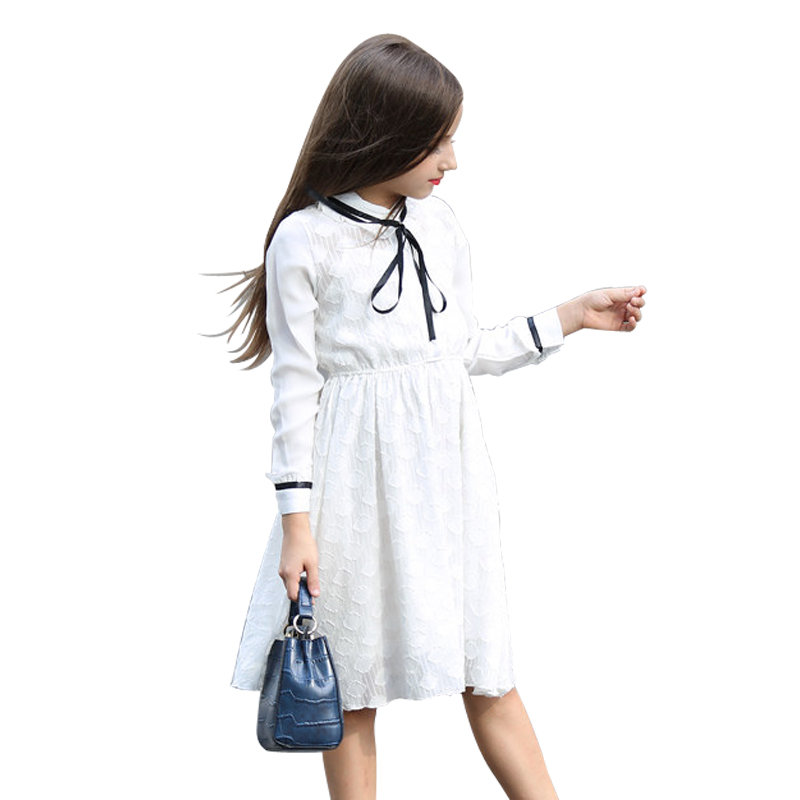 6 to 16 Years Teenage Girls White Lace Dress Summer 2018 Cute Long Sleeve Princess Dress Girl Kids Elegant Big Girls Dresses