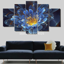 5 Panels Abstract Luxury Blue Flower Modern Wall Painting Canvas Wall Art HD Prints Large Flower Pictures Hanging On Wall Decor
