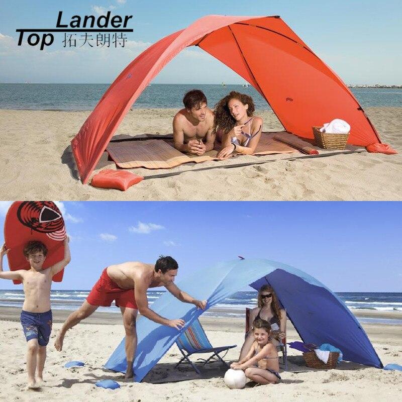 Abri du soleil Tente pour la Plage D'été En Plein Air UV Bâche Soleil Ombre Strandtent Cabana Camping De Pêche Auvent Parasol Plage Tente Auvent