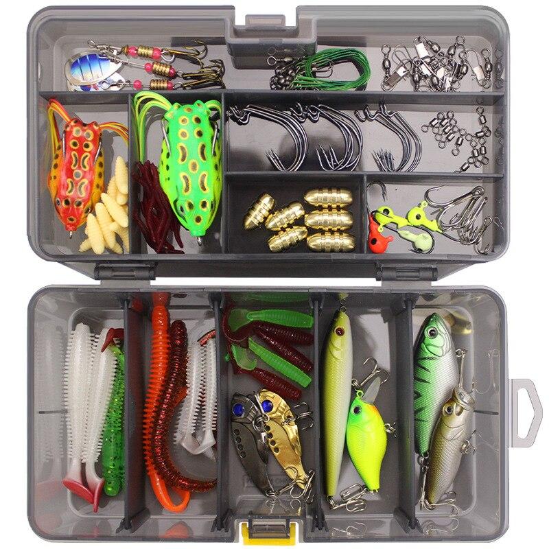 Full-Lure Kit Set Worm Hook SoftBait Popper Pencil Crank Wobbler VIB Minnow Frog Spinner Connector Jig Fishing Tackle Box
