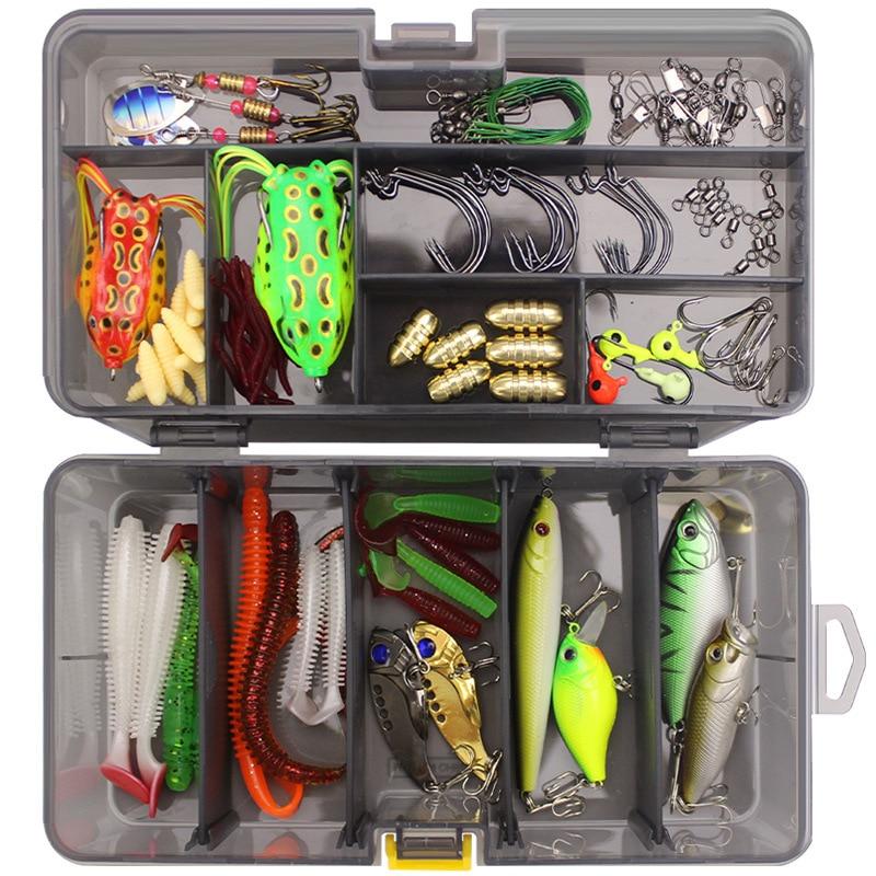 Full Lure Kit Set Worm Hook SoftBait Popper Pencil Crank Wobbler VIB Minnow Frog Spinner Connector Jig Fishing Tackle Box