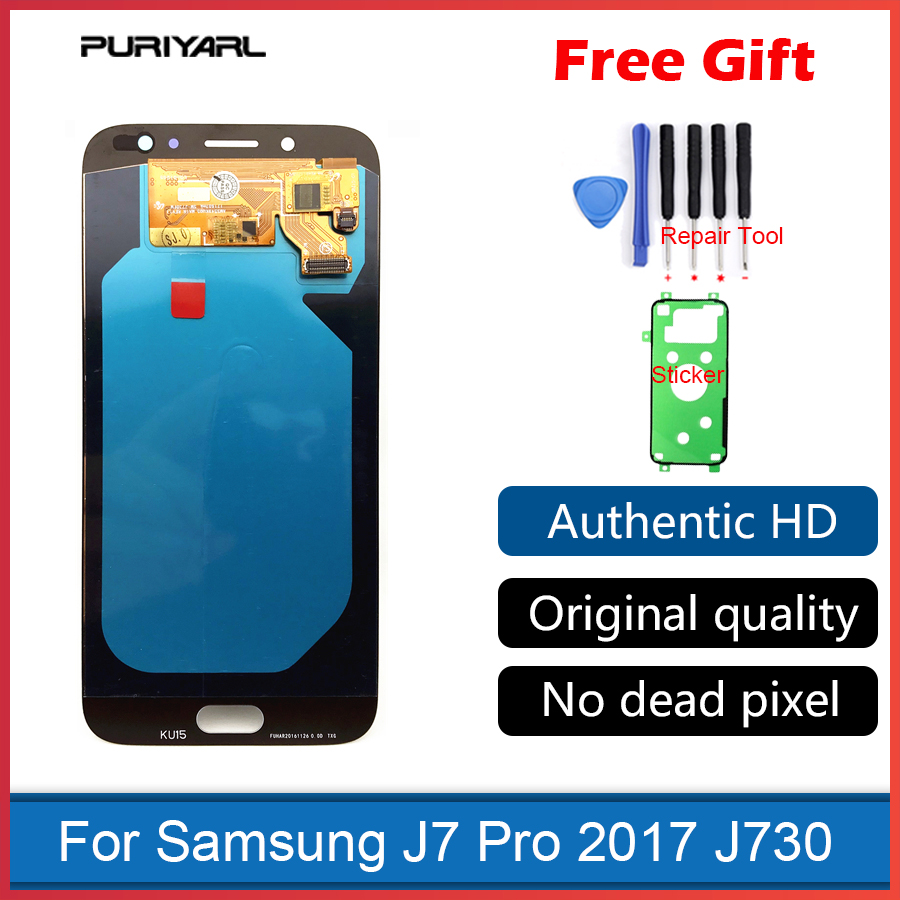 AMOLED For Samsung Galaxy J7 Pro 2017 J730 J730F LCD Display Touch Screen Digitizer Assembly Replacement Brightness Adjustment