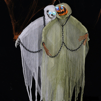 Halloween Hanging Ghost Big Size 2m Hanging Skull Haunted House Props Iron Chain Glowing Pumpkin Ghost Horror Tricky Room Decor