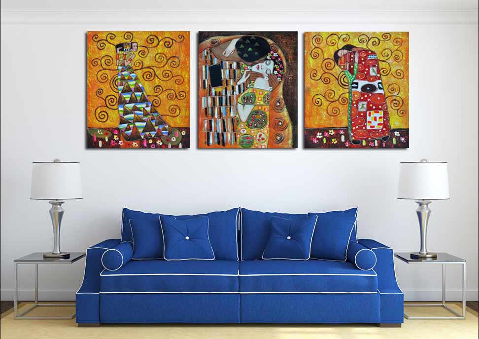 3 ps gustav klimt kiss creation for home decoration for Living room 12x16