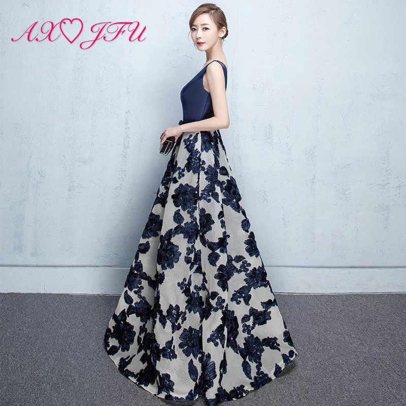AXJFU принцесса темно-синий атлас цветок вечернее вечерние Вечеринка v-образный вырез Бисероплетение Цветок без рукавов длинное красное цветочное вечернее платье
