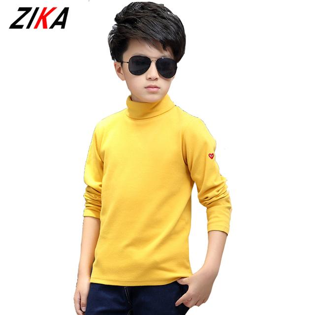ZiKa Otoño Niños de Manga Larga Camisetas Otoño Caliente Muchachos Tops de Cuello Alto Sólido Coreano Niños Que Basan Las Camisas 4-10Y tyh-20986