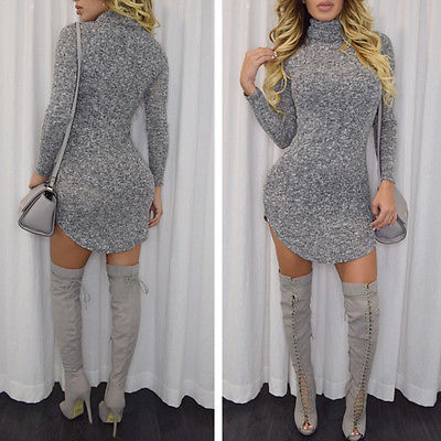 2016 New Arrive Autumn Women Casual Sexy Long Sleeve Bodycon Sweater Dress Prom Party Mini Short Dress