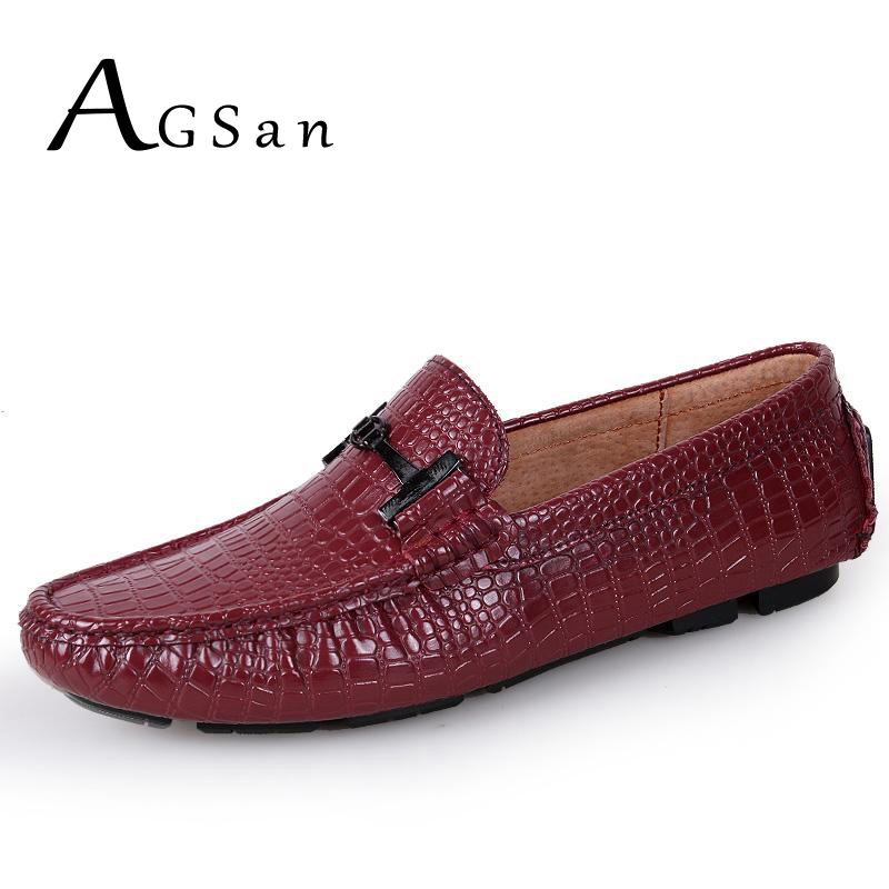 где купить AGSan luxury crocodile loafers men genuine leather driving shoes burgundy white black blue moccasins loafers slip on mens flats по лучшей цене
