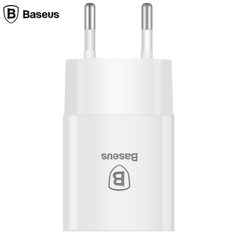 Baseus 2.1A USB Travel Wall Charger Adapter for EU Charger Plug High Speed Single USB Connector DC Adapters for iPhone and iPad