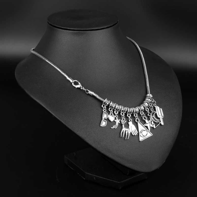 HANCHANG gravité tombe Bill Time gemme Cabochon femmes collier étrange ville main alliage collier ras du cou pendentif cadeau pour Cosplay