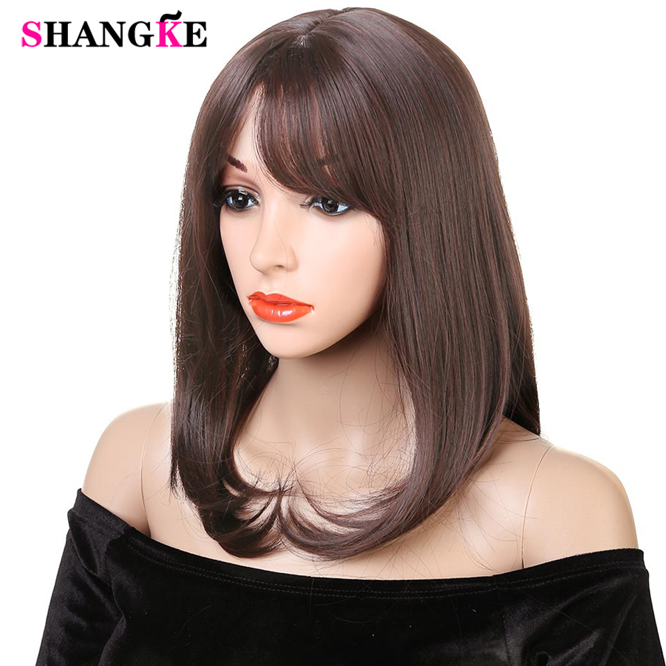 Straight Short Bob Wigs With Bangs Natural Color For Women Black Color Bob Wigs  Heat Resistant Synthetic Hair Wigs SHANGKE