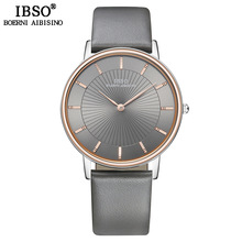 IBSO Top Brand Luxury Mens Quartz Watch Genuine Leather Strap Watch For Male Fashion