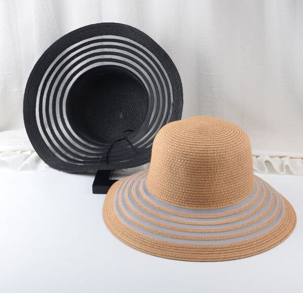 cb105f478c8 New Chic Summer Straw Hats Stripes Hollow Out Brim Dome Top Fedoras Beach  Bowler Sun Bucket Hat For Women Caps Chapeau Feminino