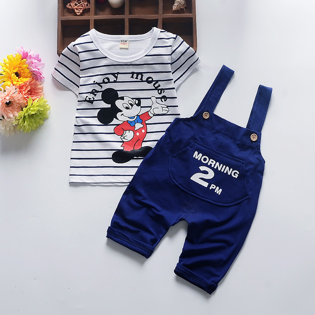 OLEKID 2017 Cartoon Striped Baby Set Short Sleeve Mickey Pattern Baby Girls Clothing Spring New Fashion Infant Boy Clothes