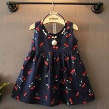2017 Children Clothing Baby Girls Cherry Print Cotton Condole Belt Dress Cute Princesess Sleeveless O-neck New Style Hot Sale   недорого