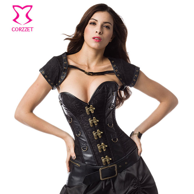 484e47608d5 Gothic Clothing Black Brocade And Leather Steampunk Corset Sexy Corpetes E  Corselet Espartilhos Plus Size Corsets