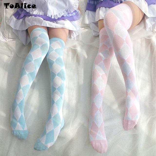 15f0c4a9351 New Women Girls Over Knee Long ARGYLE CHECK Printed Thigh High Stockings  DIAMOND Patterned Sweet Cute Warm Fashion HotSales