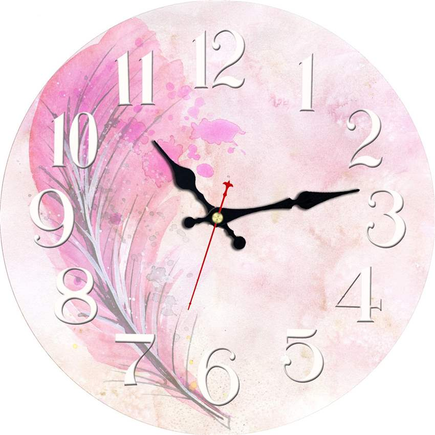 MEISTAR Vintage Wooden Pink Design Clocks Art Watches Silent Cafe Office Kitchen Clock Home Decor Retro Large Wall 2018