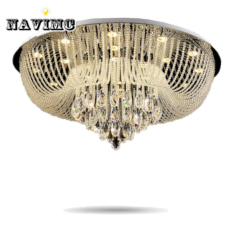 Lights & Lighting Circular Led Crystal Lamps And Lanterns Cornucopia Absorb Dome Light Of Contemporary Sitting Room Hotel Engineering Lobby Lamps