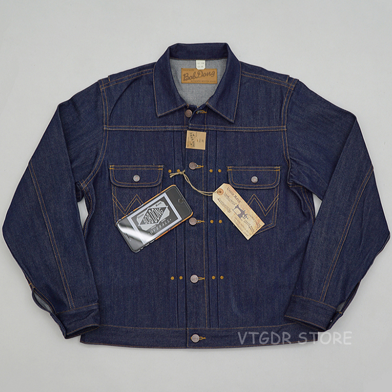 BOB DONG Repro 11MJ Pleated 1940s Western Selvage Denim Jacket Vintagr Jean Coat