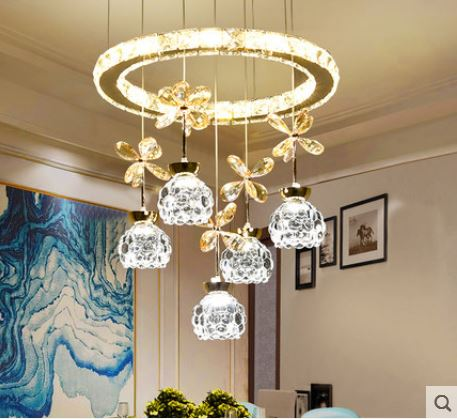 Three rounds of modern minimalist restaurant chandelier home creative personality led crystal lampsThree rounds of modern minimalist restaurant chandelier home creative personality led crystal lamps