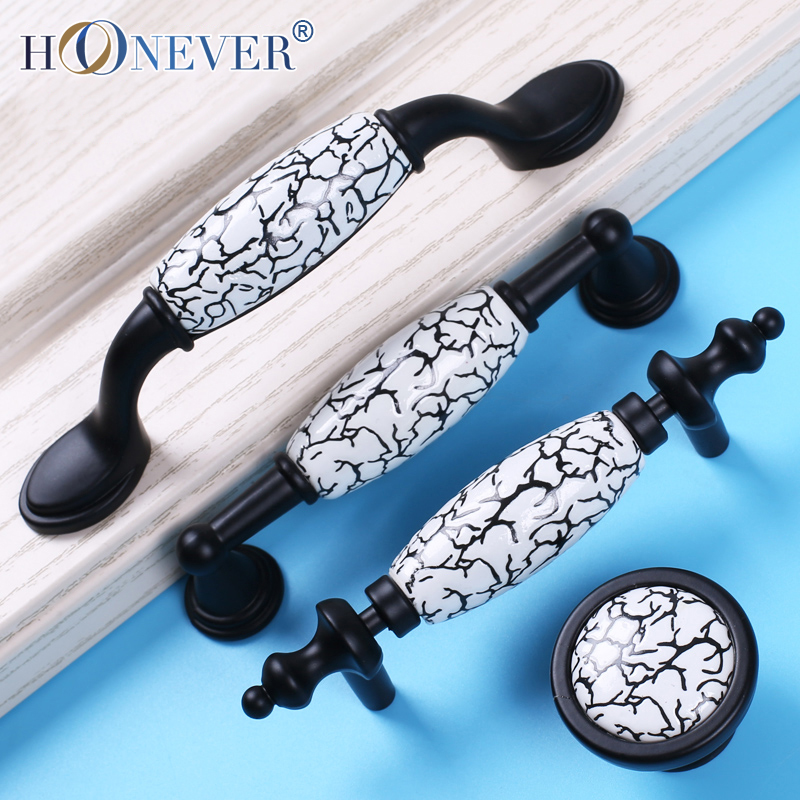 Black White Door Handles Country Style Ceramic Drawer Pulls Knob