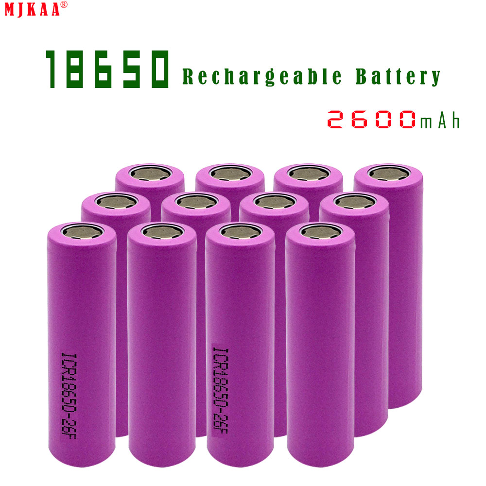 12pcs/lot 100% Original 3.7V 2600mAh For Samsung 26F Rechargeable 18650 Li-ion Battery Real Capacity ICR18650 Batteries