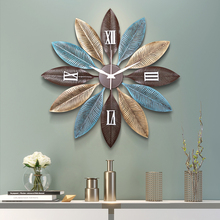 Nordic Творческий металлические настенные часы настенные подвесные украшения ремесла домашнего гостиная 3D стены Стикеры немой настенные росписи