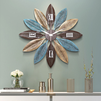 Nordic Creative Metal Wall Clocks Wall Hanging Ornaments Crafts Decoration Home Livingroom 3D Wall Sticker Mute Wall Clock Mural