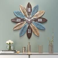 Nordic Creative Metal Wall Clocks Wall Hanging Ornaments Crafts Decoration Home Livingroom 3D Wall Sticker Mute Wall Clock Mural