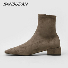 JIANBUDAN/ Autumn fashion womens bare boots 2020 new suede high heel ankle Side zipper concise sexy office shoes 34-40