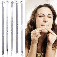 5PCS/set Face Skin Care Stainless Steel Blackhead Blemish Acne Pimple Extractor Remover Kit Tool Cleanser Beauty