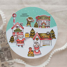 YaMinSanNiO Clear Stamps and Dies Craft Tree Santa House Metal Cutting Scrapbooking for Card Making Embossing Die Cuts 2019