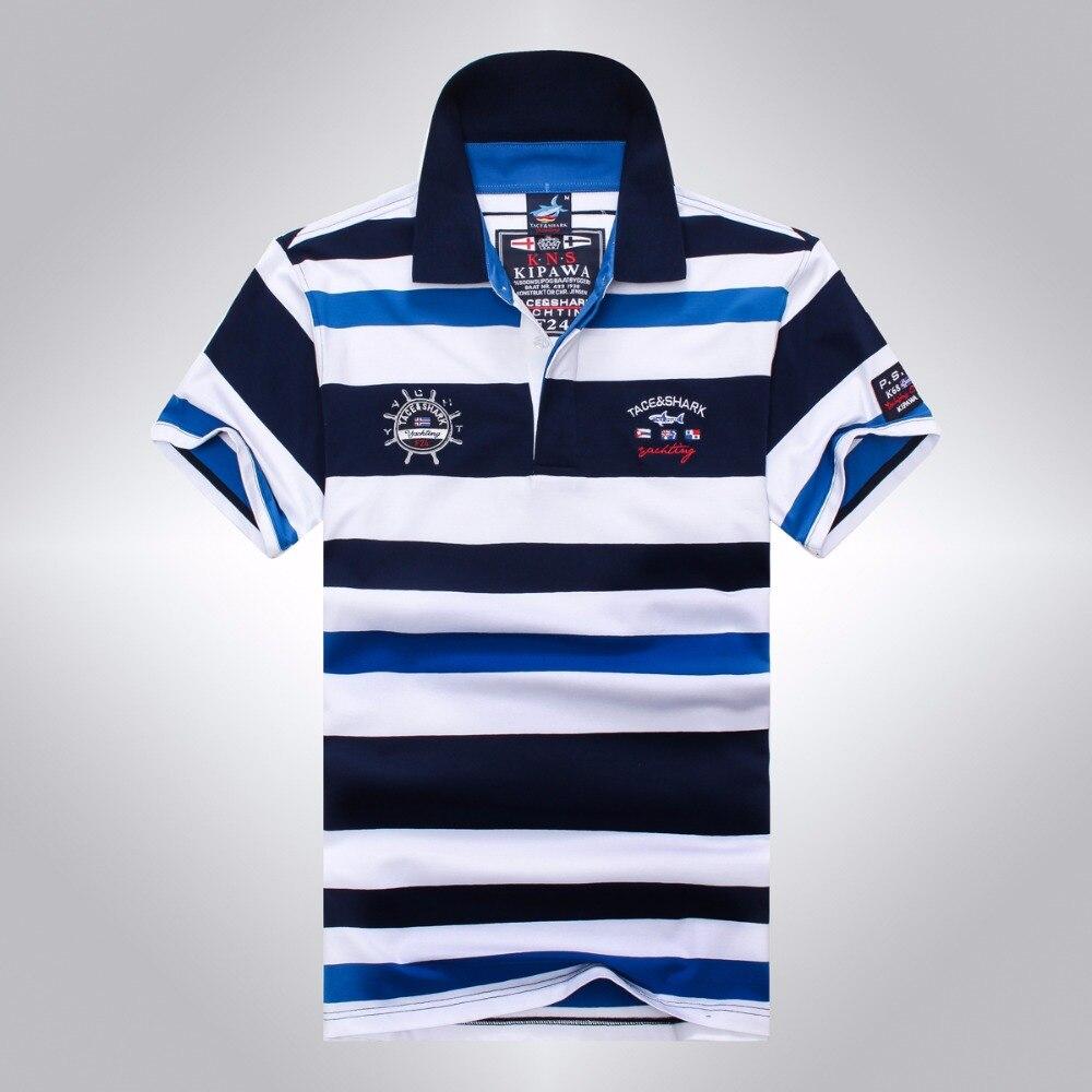 2017 High Quality Men's Tace Shark   Polo   Shirts fashion Style Summer Striped Shark brand short sleeve   polo   shirt men billionaire