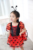 Kid Girls Halloween Lady Bug Costume Toddler Child Short Funny Cute Dress Cosplay Wings Outfit Birthday
