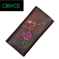 Original Designer Brand Genuine Cow Leather Women Solid Wallets Handmade Flower Retro Long Standard Cards Holders