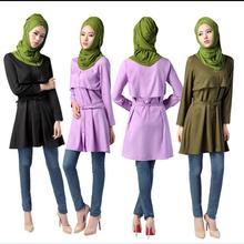 2018 Limited-Promotion Adult Fashion Abaya Abayas Islamic Muslim stitching Clothing Female Long-sleeved Arab Tops Shirt W1266