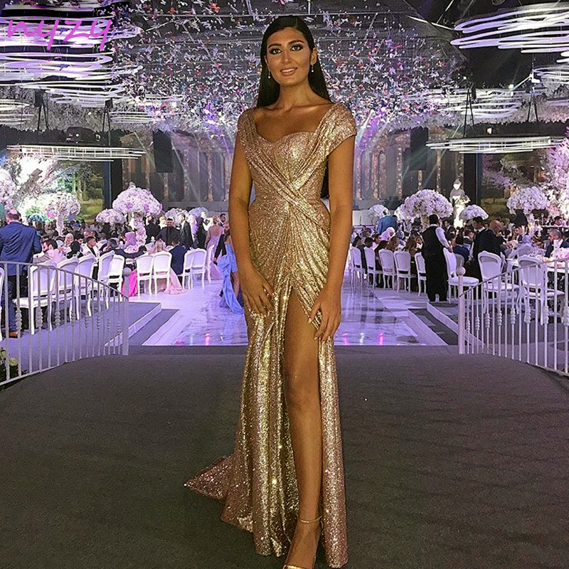 NYZY E7 Sexy High Leg Slit Cap Sleeves Gold Sequin Gown Formal   Dress   Robe Longue Mermaid Long   Evening     Dress   2019