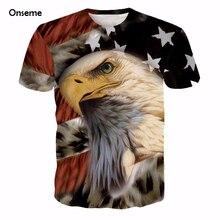 Onseme Newest Harajuku Tee Shirt USA America Flag Eagle Prints tshirts Men Women Hipster 3D t