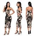 Mulheres Vestido de Verão 2016 Roupas Strapless Malha Vestido de Impressão Digital Bodycon Sem Mangas Vestidos Na Altura Do Joelho Vestidos Casuais