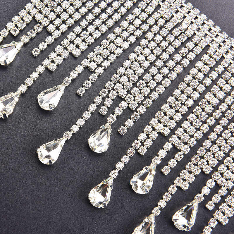 50cm piece Beautiful long Tassels Crystal Silver Tone Chain wedding  Necklace curtain decoration Costume Applique 05c149d93cf5